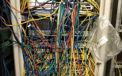 Network spaghetti: Poorly patched Network Cabinet
